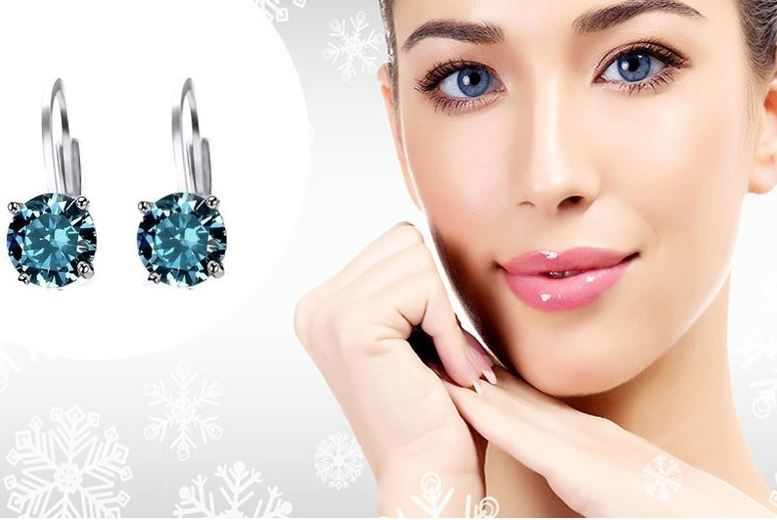 Gold-Plated Blue Simulated-Topaz Earrings for £8