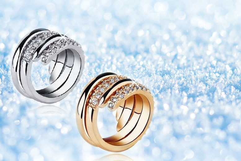 Gold-Plated Ring – 2 Colours & 3 Sizes! for £8
