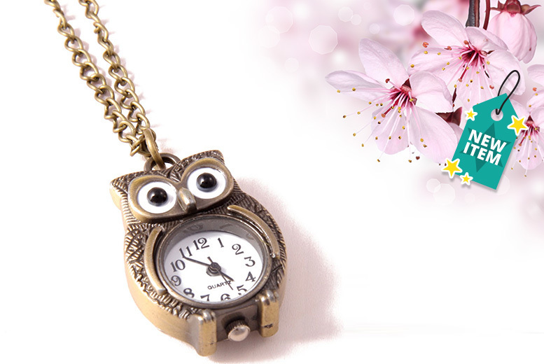 Vintage Owl Watch Necklace