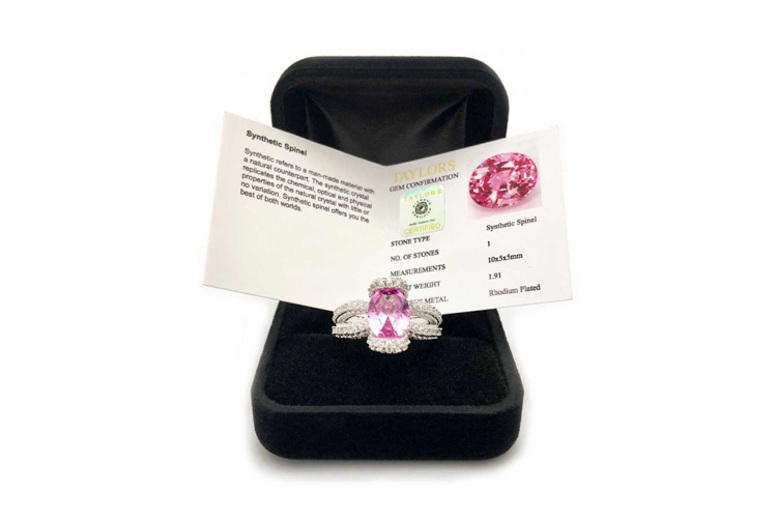 Oval Cut Simulated Pink Spinel Ring