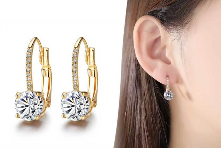 Gold-Plated Earrings made with Crystals from Swarovski ® for £12