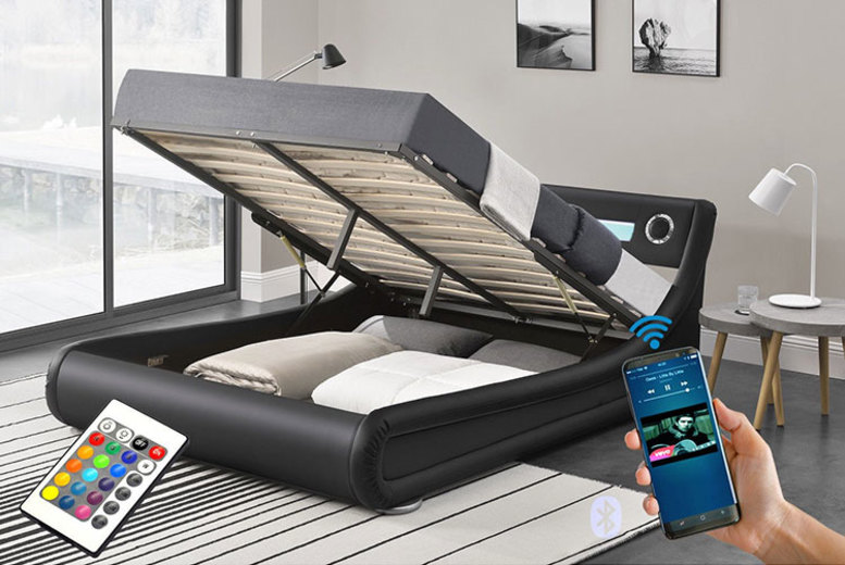 Torino LED Bluetooth Ottoman Bed w/ Optional Mattress – 2 Sizes! for £329
