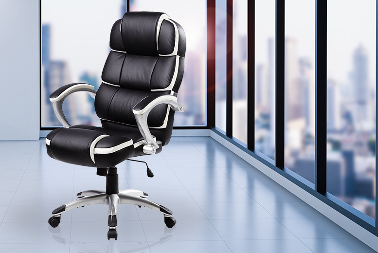 Luxury Designer Office Chair  Black with White Accents!
