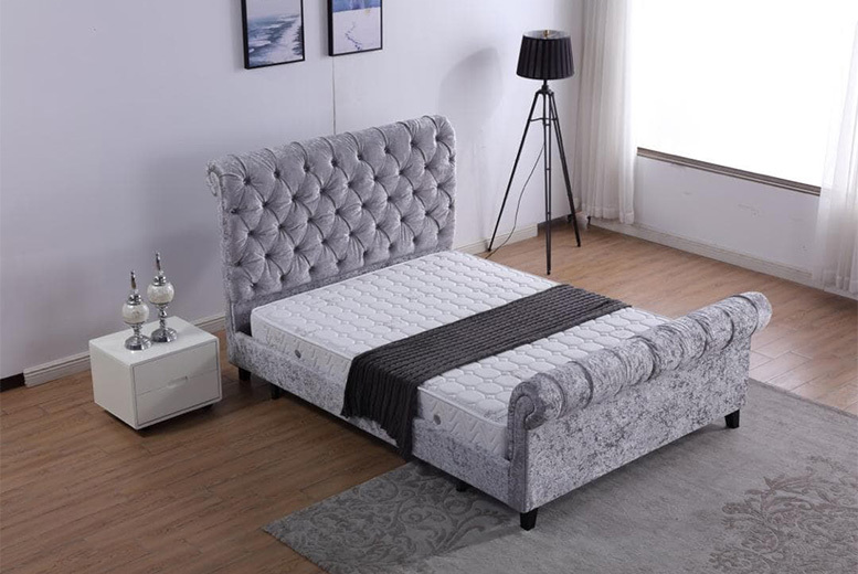 Alanya Sleigh Chesterfield Velvet Ottoman Bed - 2 Sizes!