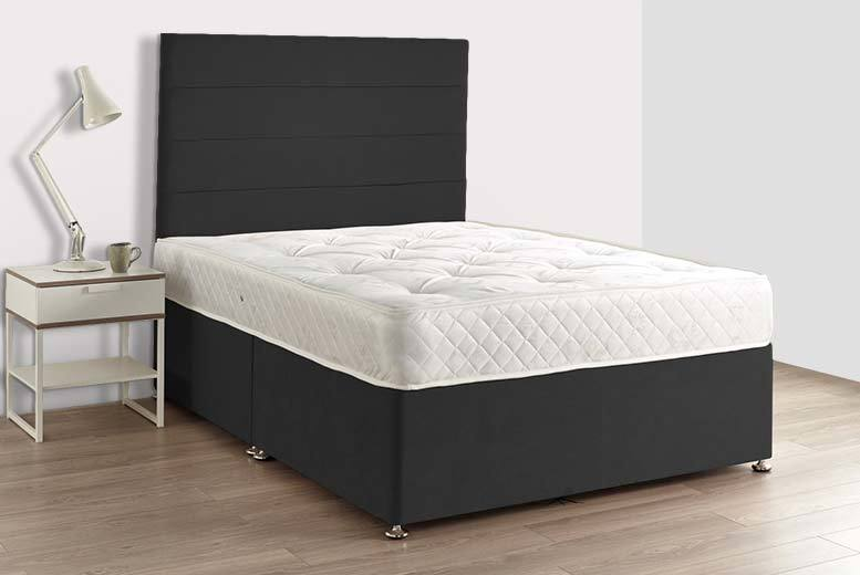 Black Luxury Fabric Divan Bed