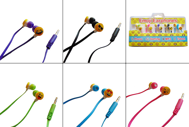 £9.99 instead of £59.99 (from Shop Directly) for a set of five Emoji headphones - save 83%