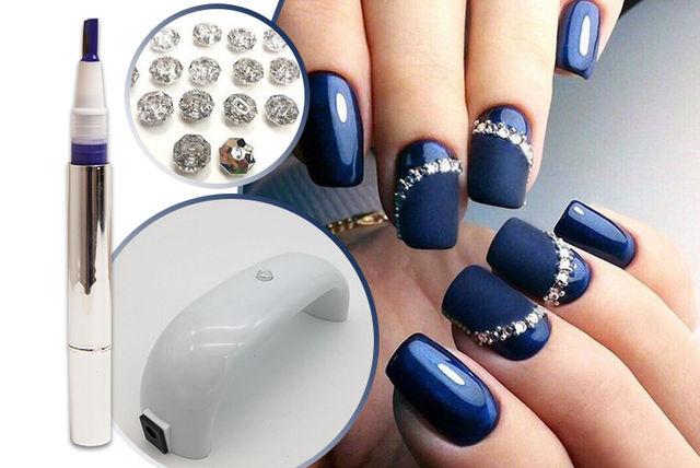 UV LED Nail Lamp & Diamante Navy Gel Nails Kit