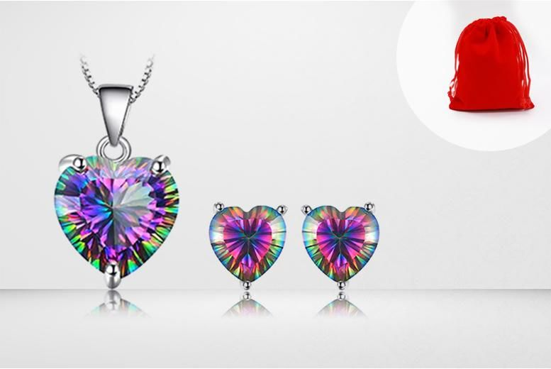 Mystic Topaz Heart Pendant & Earrings set for £9.99