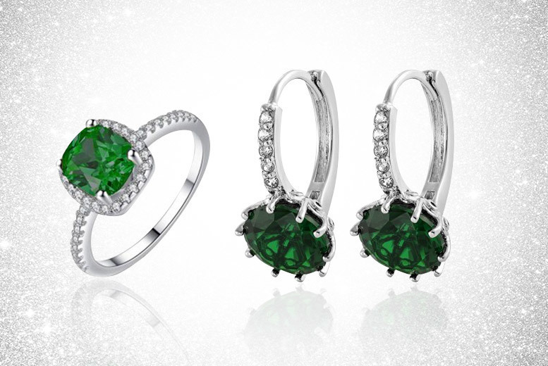 Green Crystal Ring and Earring Set