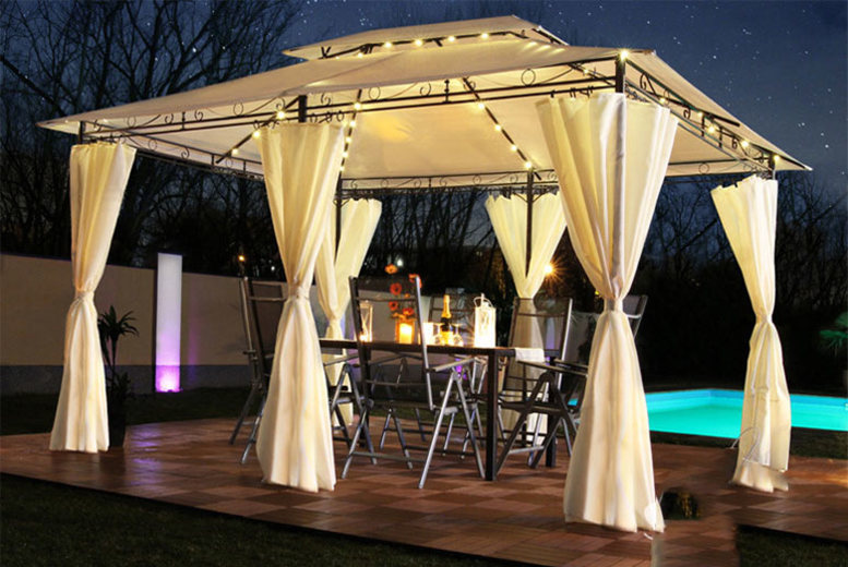 3 x 4m LED Pavillion Garden Gazebo – 4 Colours!