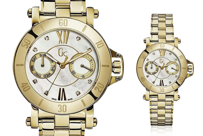 Gold 'Swiss Made' Guess Collection Ladies' Watch