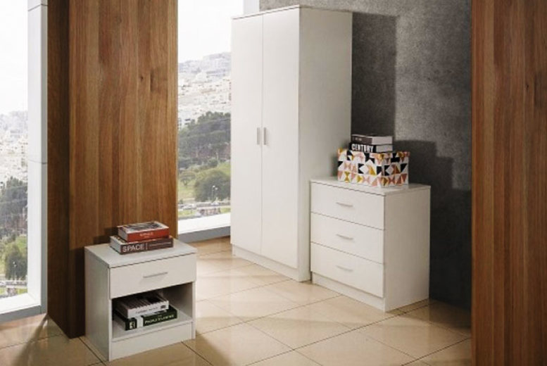 3pc White Bedroom Furniture Set for £129