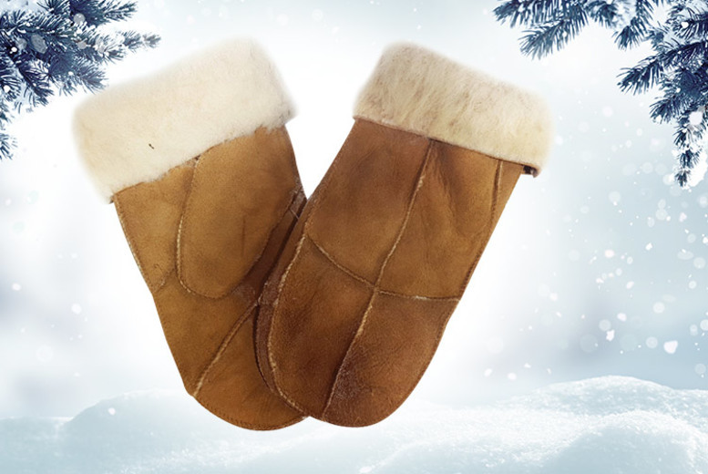 Tan Sheepskin Mittens with Faux Fur Trim for £9.99
