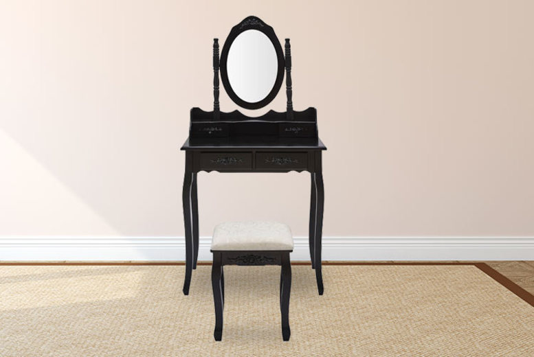 Ornate Dressing Table with Matching Stool & Mirror – 4 Colours! for £99