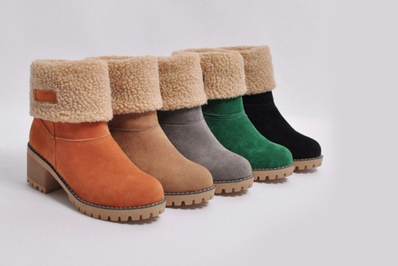 Faux Fur Lined Square Heeled Ankle Boots – 5 Colours & UK Sizes 4-6! for £14.99