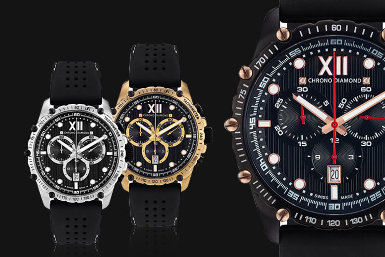 Swiss-Made Chrono Diamond 'Neelos' Men's Watch - 3 Designs!