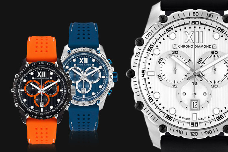 Swiss-Made Chrono Diamond 'Neelos' Men's Watches - 4 Designs!