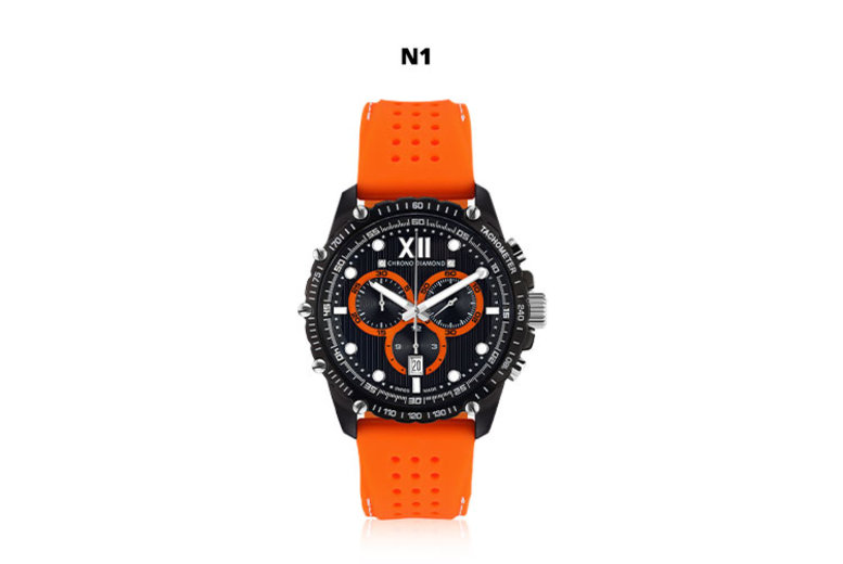 SwissMade Chrono Diamond Neelos Mens Watches  4 Designs!