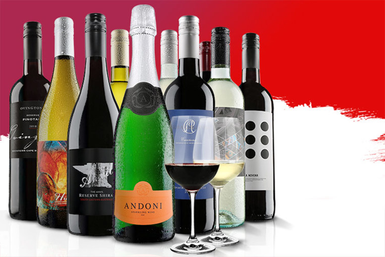 10-Bottle Virgin Wines Case & 2 Dartington Crystal Glasses for £42.99