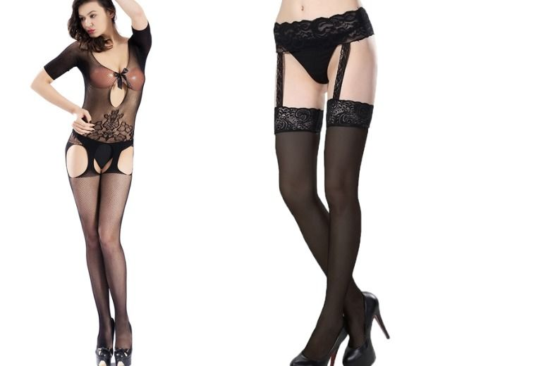 Bodystocking & Suspender Stockings & Garter Belt for £8.99