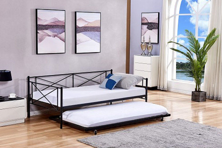 Metal-Framed French Guest Bed with Pull-Out Trundle – 2 Colours! for £99.99
