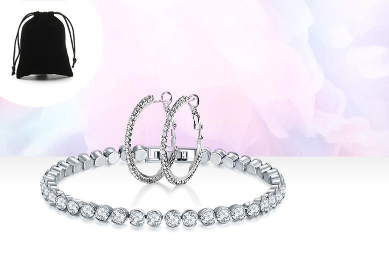 Crystal Tennis Bracelet and Hoop Earrings Set