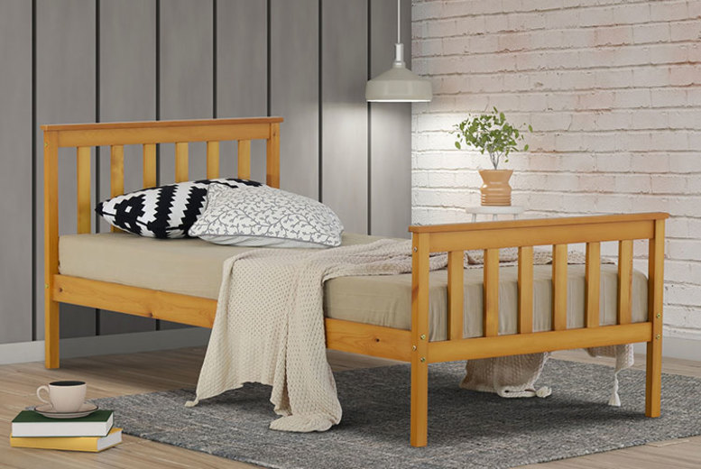 White or Caramel 3ft Single Wooden Bed Frame