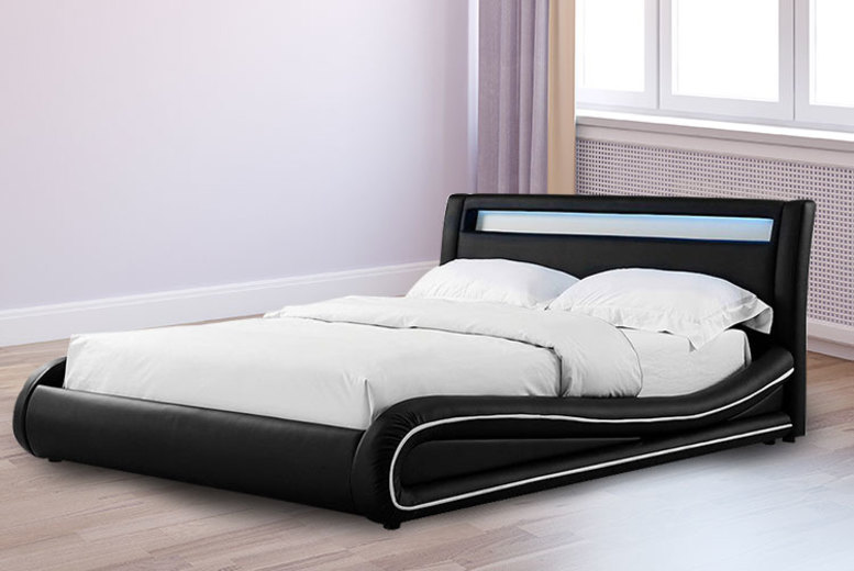 Faux Leather Bed w/ LED Headboard – 2 Sizes! from £179