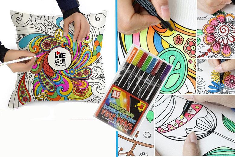 Graffiti Pillowcase with 8 Colouring Pens