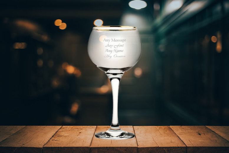 Engraved Gold Rimmed Balloon Gin & Tonic Glass for £7.99