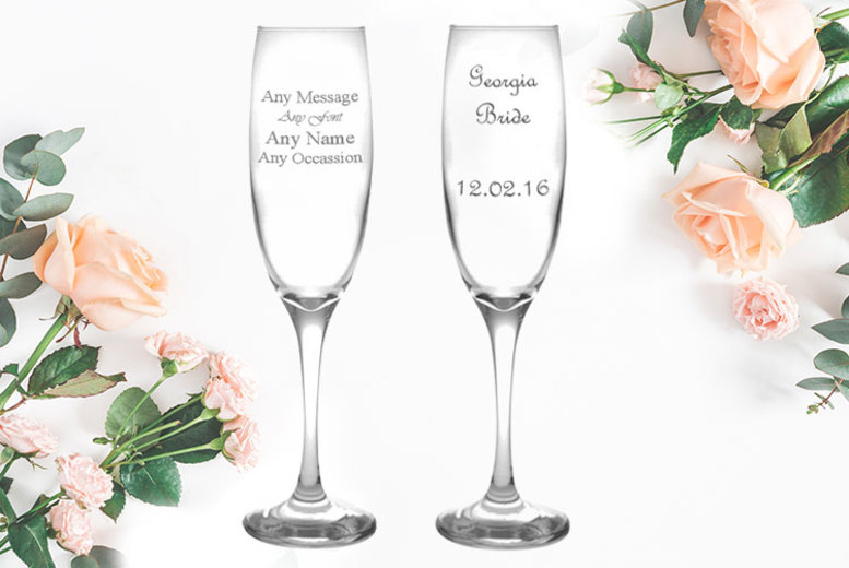 Personalised 220ml Engraved Champagne Flute for £5.99