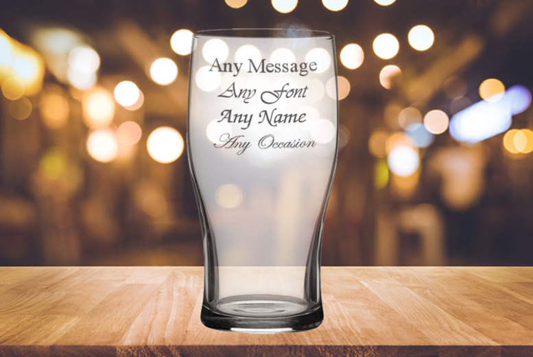 Personalised Engraved 20oz Tulip Pint Glass for £4.99