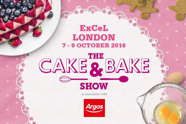 £16 instead of £25.70 for two tickets to The Cake and Bake Show plus a baking gift on 7th-9th October 2016 from Media 10 at ExCel, London - save 38%