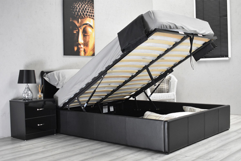 Black Faux Leather Ottoman Bed – 4 Sizes! from £89