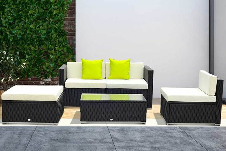 5-pc Outsunny Rattan Sofa Set – 3 Colours! for £299