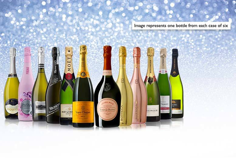 £29.99 for a luxury mystery six-bottle bubbly case that may include Moët, Bottega, Laurent-Perrier, Telmont, Bollinger and more - save 65%