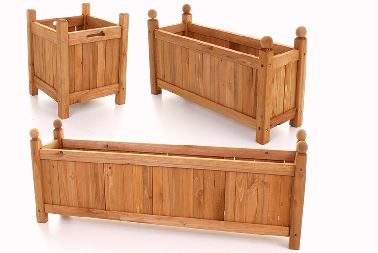 Contemporary Wooden Planter – 3 Sizes! from £12