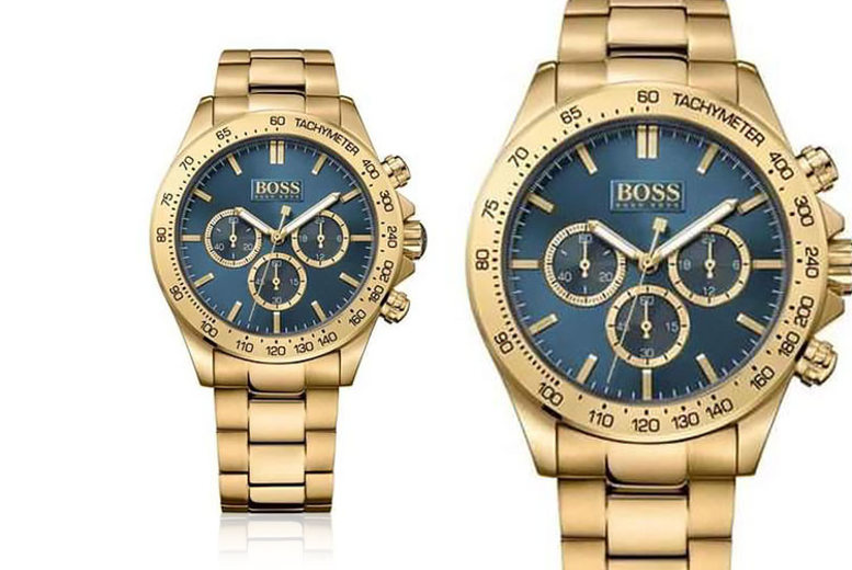 Hugo Boss Men's Ikon Chronograph Gold and Blue Watch