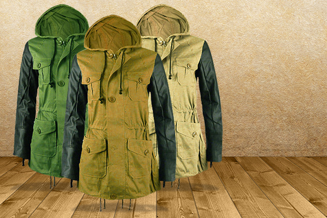 £29.99 instead of £59.99 (from Karma Clothing) for a classic military parka with faux leather sleeves - save 50%
