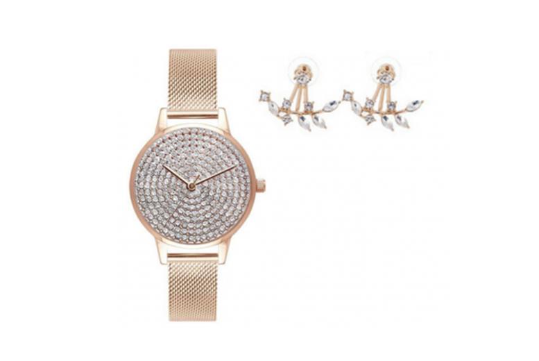 Jessica Rose Gold Watch & Leaf Earrings Set
