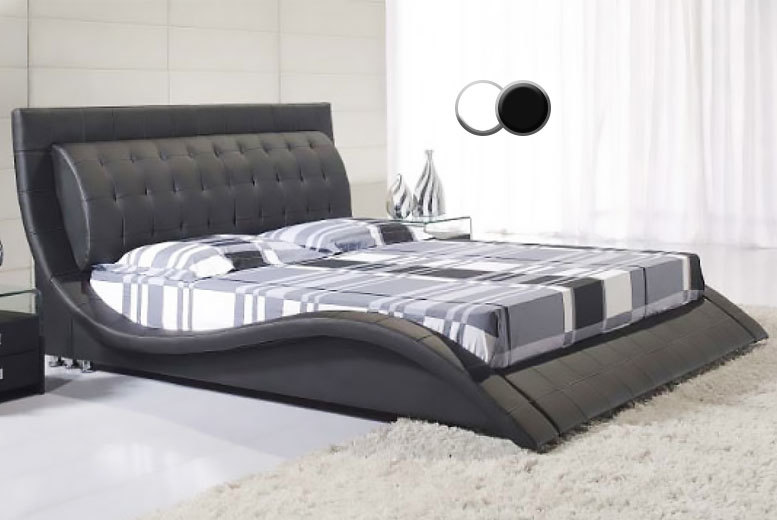 Black Luxury Designer Andorra Faux Leather Bed