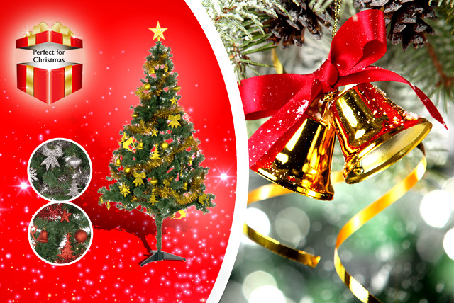 £39 for a 6ft Christmas tree with 75-piece decoration kit in a choice of colours and 80 LED lights from Wowcher Direct