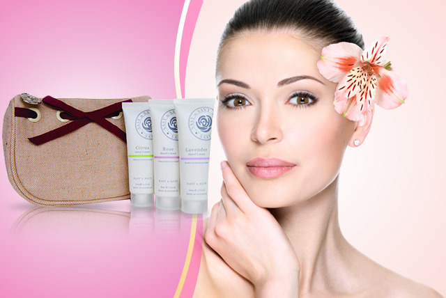 £12 instead of £30 (from Sasy n Savy) for a trio of 50ml hand creams in a cosmetics purse - stay nourished on the go & save 60%
