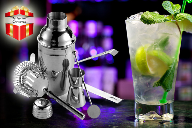 £10 instead of £29.99 (from Mooch) for a 5-piece cocktail making kit including stirrer, shaker, strainer and 2 measuring jiggers - save 67%
