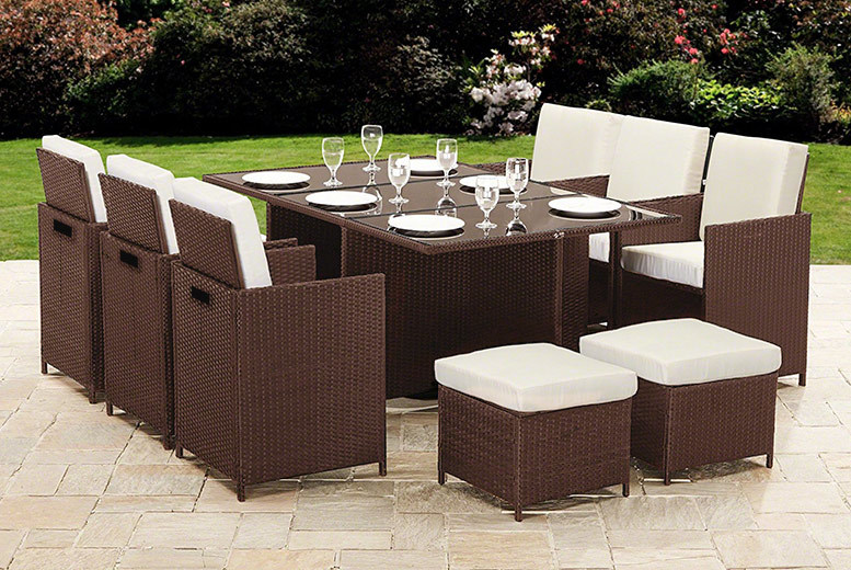 10Seater Cube Rattan Garden Furniture Set  2 Colours!