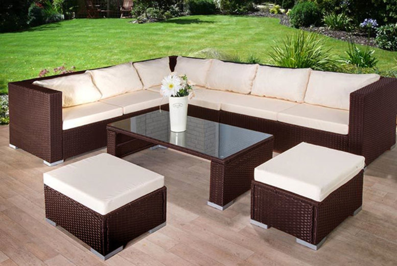 9Seater Rattan Corner Sofa, Stool & Table Garden Furniture Set