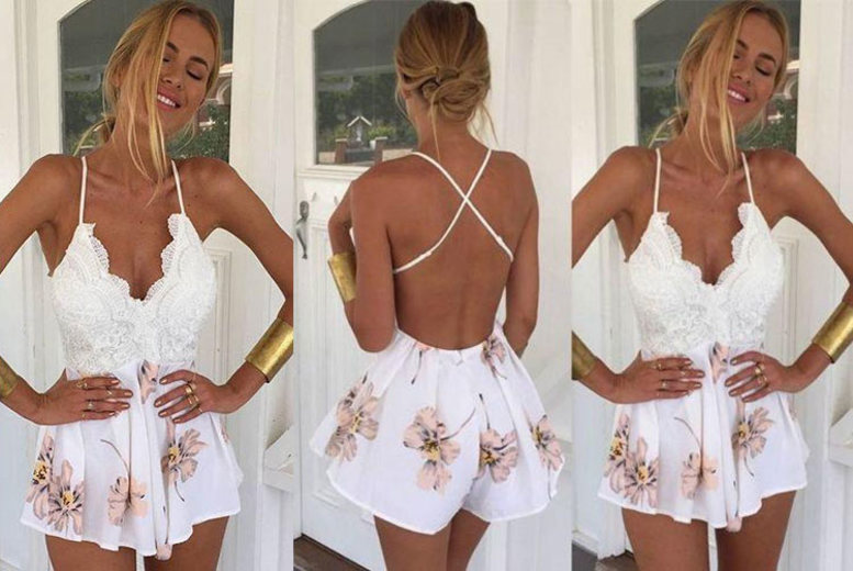 Floral Backless Playsuit – UK Sizes 6-14!