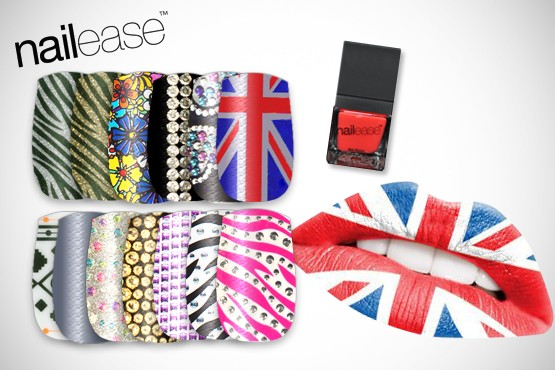 £9.99 instead of up to £28.95 (from Nail Ease) for 3 sets of nail wraps (20 per pack) inc. Union Jack + polish & Union Jack lip tattoo - save up to 65%