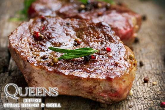 £29 instead of up to £64.85 for a steak dinner for 2 & a glass of wine each at Queens British Steak House & Grill - save up to 55%