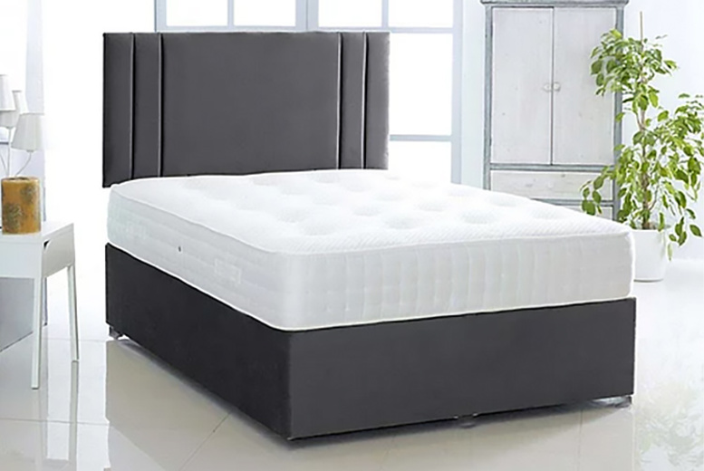 Black Suede Divan Bed w/ Mattress & Optional Drawers - 6 Sizes!